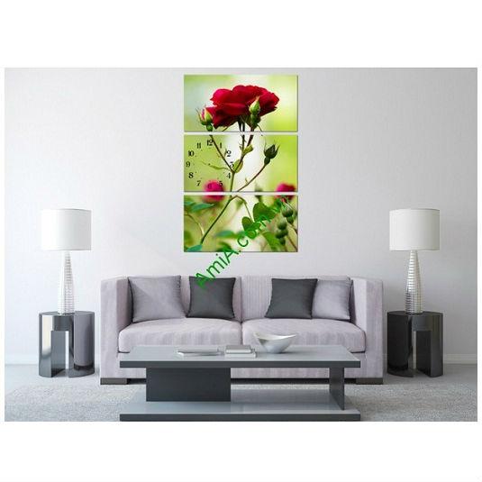 Bộ tranh hoa hồng ghép kiểu đứng treo phòng khách đẹp