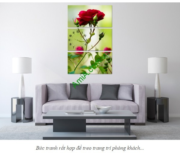 Bộ tranh hoa hồng ghép kiểu đứng treo phòng khách đẹp-02