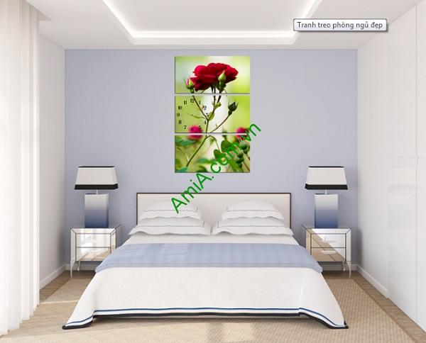 Bộ tranh hoa hồng ghép kiểu đứng treo phòng khách đẹp-03