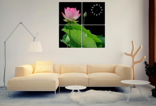 Tranh treo phòng khách hoa sen bộ 4 tấm Amia 130-01