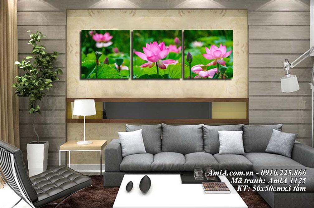 Tranh treo tuong hoa sen phong khach dep 3 tam Amia 1125