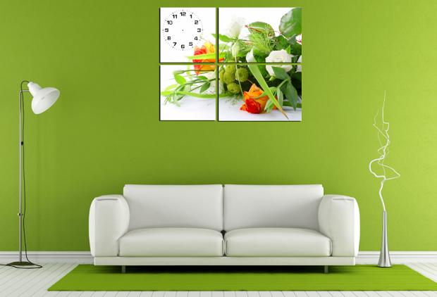 Bộ tranh hoa ghép nghệ thuật này mang mầu sắc tươi sáng trẻ trung, hợp treo với nhiều không gian phòng khách khác nhau