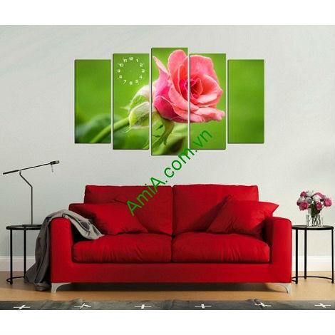 Tranh hoa hồng ghép bộ cho phòng khách lãng mạn
