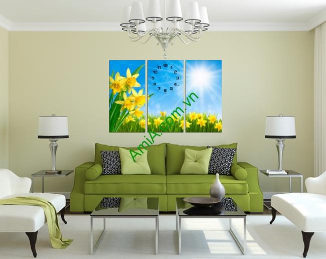 Hình ảnh tranh trang trí phòng khách hoa nắng