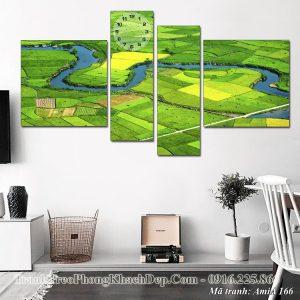 Tranh phong cảnh đồng quê xanh mướt AmiA 166