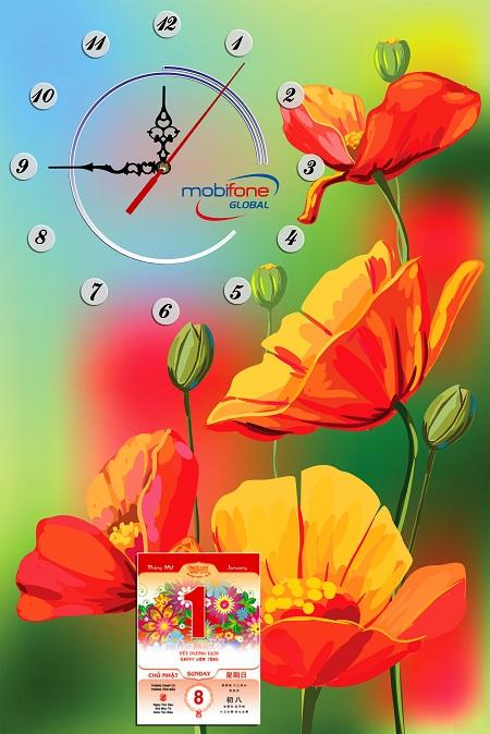 Bộ lịch treo tường dạng tranh trang trí, có đồng hồ xem giờ, đẹp mà tiện lợi