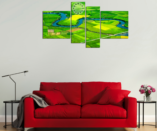 Bộ tranh phong cảnh dòng sông và cánh đồng kích thước lớn
