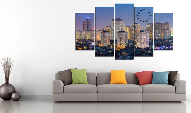 Bức tranh phong cảnh Hà Nội hợp treo ở các phòng khách có diện tích rộng