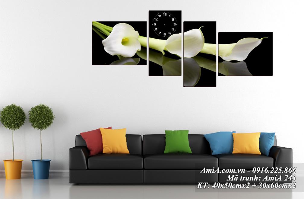 Tranh treo phong khach hanh Kim hoa rum trang AmiA 243