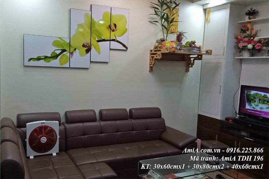 Tranh treo tuong hien dai AmiA 196 hoa phong lan vang