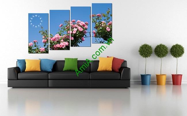Tranh ghép bộ treo phòng khách hoa hồng amia 223-01