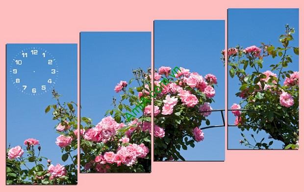 Tranh ghép bộ treo phòng khách hoa hồng amia 223