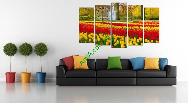 Tranh nghệ thuật treo phòng khách Vườn hoa Tulip-01