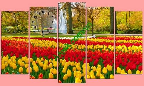 Tranh nghệ thuật treo phòng khách Vườn hoa Tulip