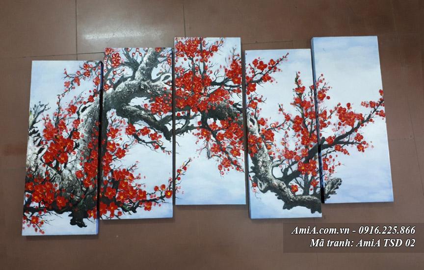 Buc tranh son dau canh hoa dao dep TSD 02 tai cua hang tranh amia