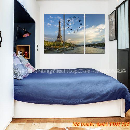 Tranh đồng hồ tháp Eiffel treo phòng ngủ AmiA 222