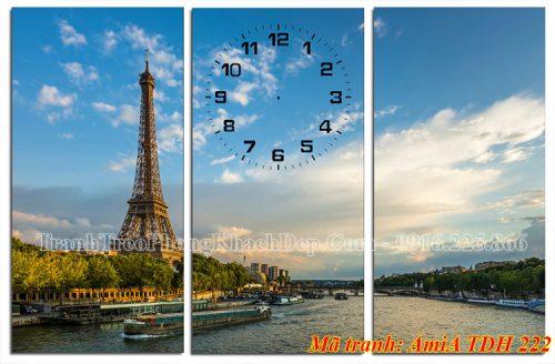 Tranh ghép đồng hồ 3 tấm AmiA 222 tháp Eiffel