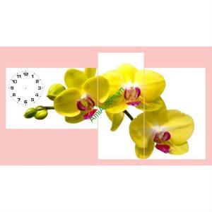 Bộ tranh hoa lan vàng treo phòng khách đẹp
