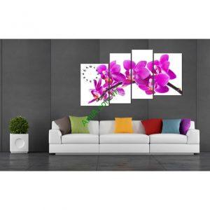 Tranh hoa lan tím ghép bộ hiện đại treo phòng khách