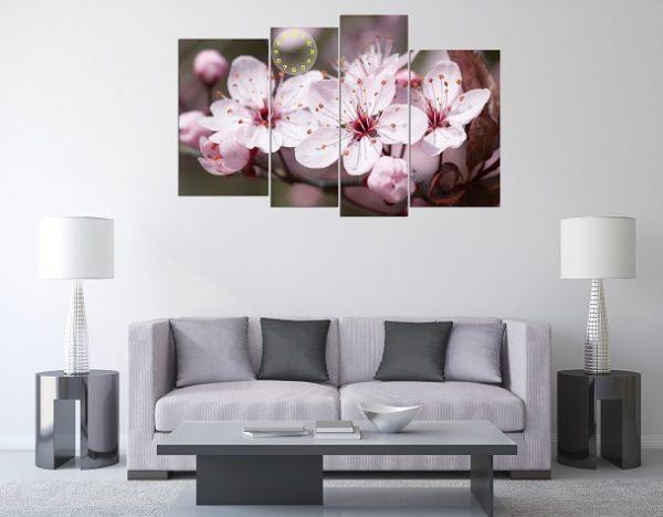 Tranh Hoa Đào đón chào năm mới dùng trang trí phòng khách