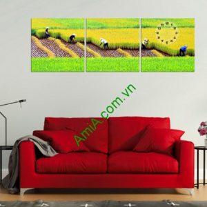 Bộ tranh phong cảnh cánh đồng lúa treo phòng khách đẹp