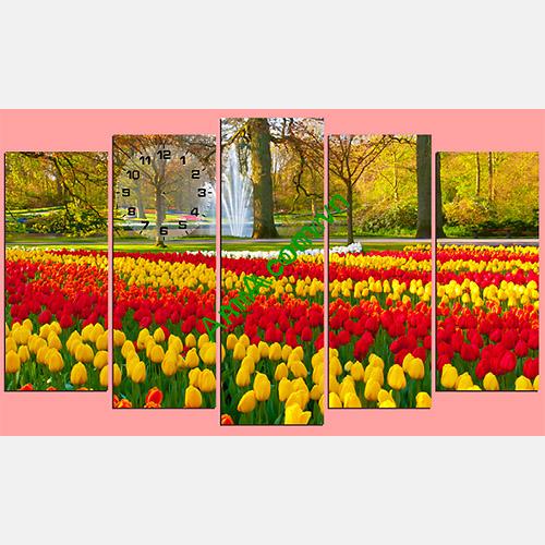 Tranh phong canh cong vien hoa tulip treo phong khach dep