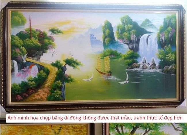 Tranh sơn dầu treo phòng khách Thuận buồm xuôi gió
