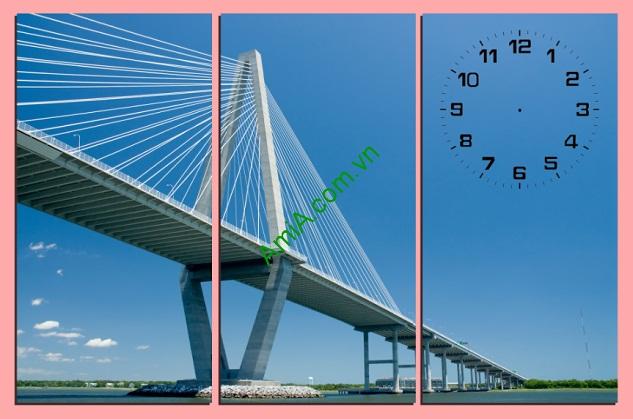 Tranh treo phòng khách đẹp Cầu Dây Văng Amia 209