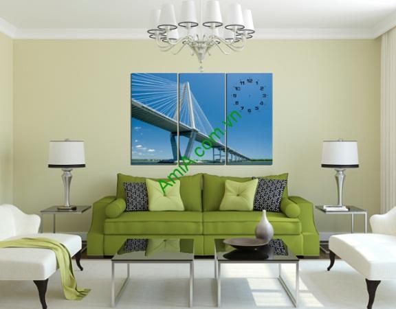 Tranh treo phòng khách đẹp Cầu Dây Văng Amia 209-01