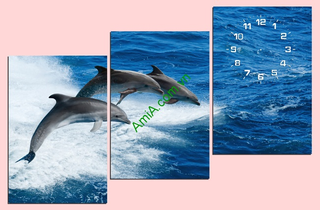 Tranh treo phòng khách Cá Heo AmiA TDH 160