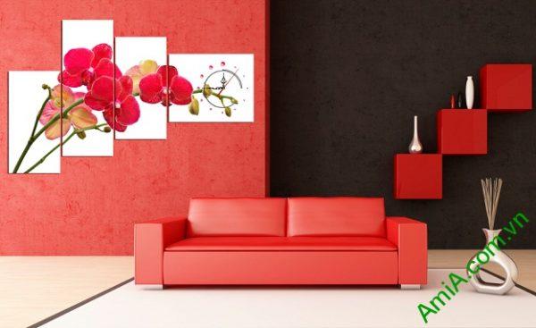 Phòng khách hiện đại nhờ Tranh Trang trí Lan Hồ Điệp Đỏ