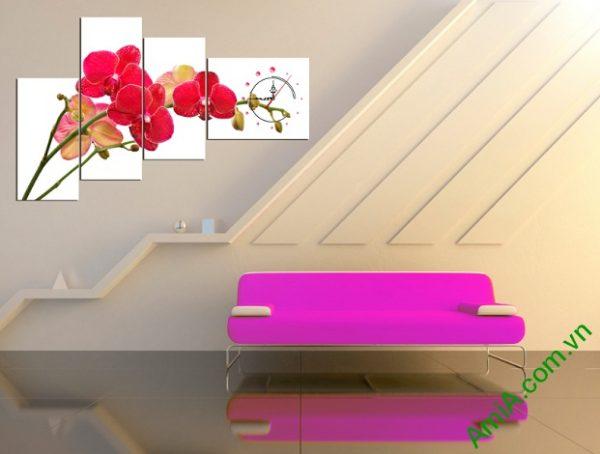 Tranh trang trí phòng khách với sắc Đỏ của Lan Hồ Điệp mang tới không gian ấm áp