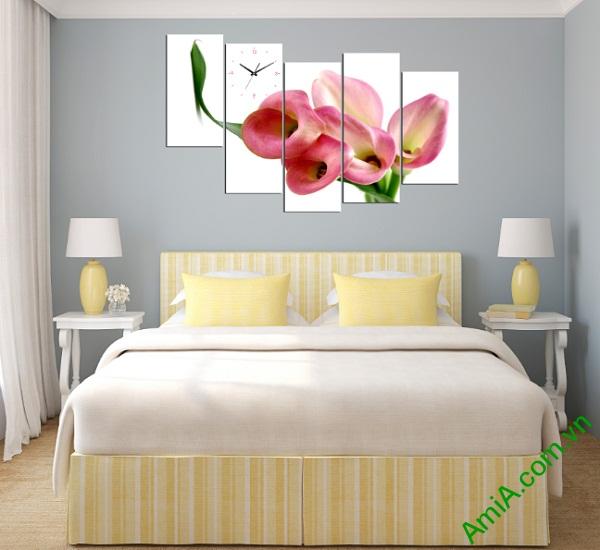 Phòng ngủ trở nên thư thái nhất nhờ bộ tranh Treo tường phòng khách Hoa Zum hiện đại