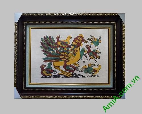 Bức tranh dân gian Đông Hồ trang trí phòng khách Đàn gà