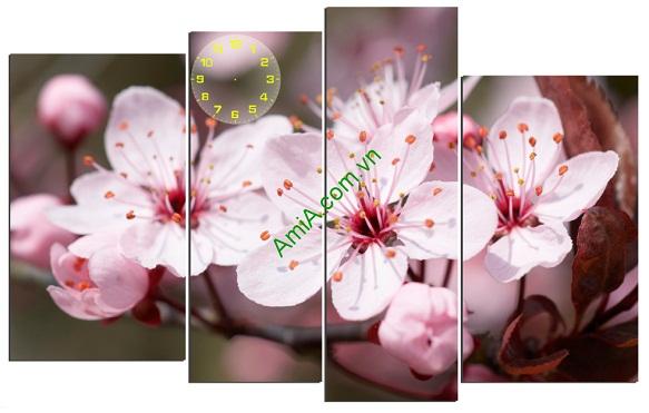 Tranh phòng khách Hoa đào mang hương sắc mùa xuân ngập tràn không gian nhà bạn