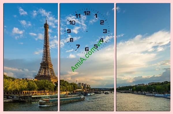 Bộ tranh treo phòng khách hiện đại Tháp Eiffel