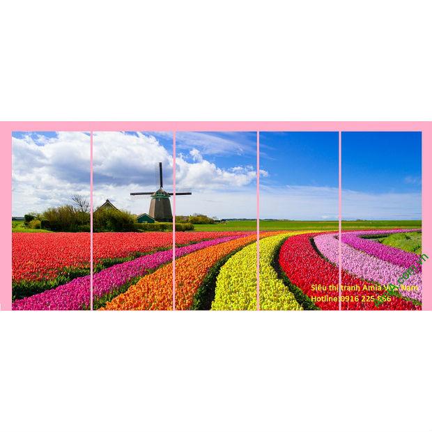 Tranh phòng khách đồng hoa Tulip như dải lụa dài tuyệt đẹp