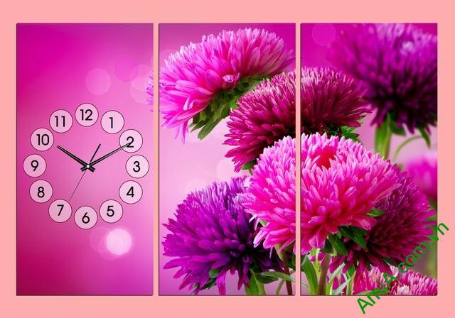 Đồng hồ tranh treo tường phòng khách hoa Cúc Tím