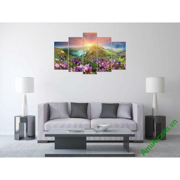 Tranh bộ treo phòng khách Đồi hoa Nắng Amia 279 mẫu 00