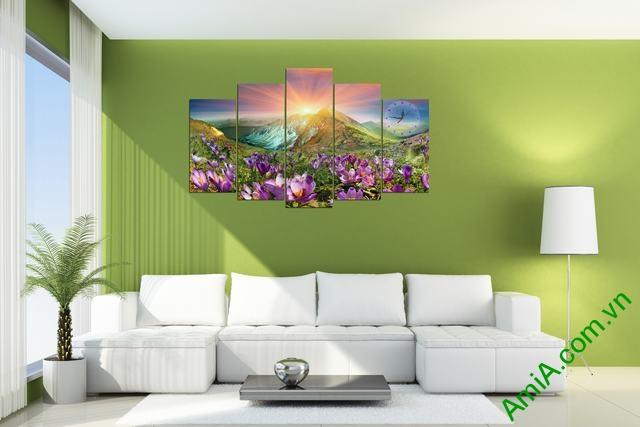 Tranh bộ treo phòng khách Đồi hoa Nắng Amia 279 mẫu 01