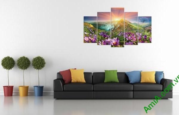 Tranh bộ treo phòng khách Đồi hoa Nắng Amia 279 mẫu 02