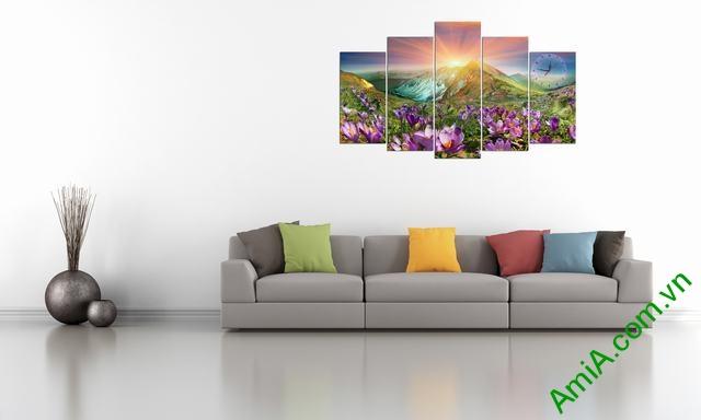 Tranh bộ treo phòng khách Đồi hoa Nắng Amia 279 mẫu 03