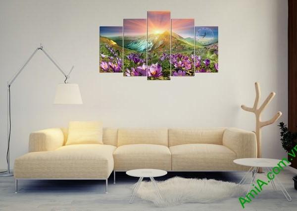 Tranh bộ treo phòng khách Đồi hoa Nắng Amia 279 mẫu 04