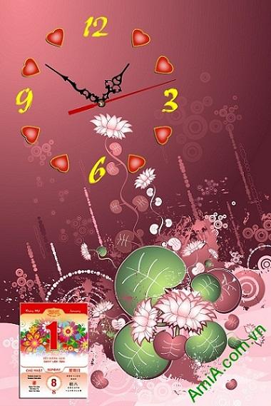 Tranh đồng hồ lịch Tết Amia LICHGD23 trang trí phòng khách