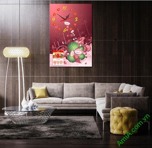 Tranh Đồng hồ lịch Tết treo tường phòng khách mang phong cách hiện đại, độc đáo