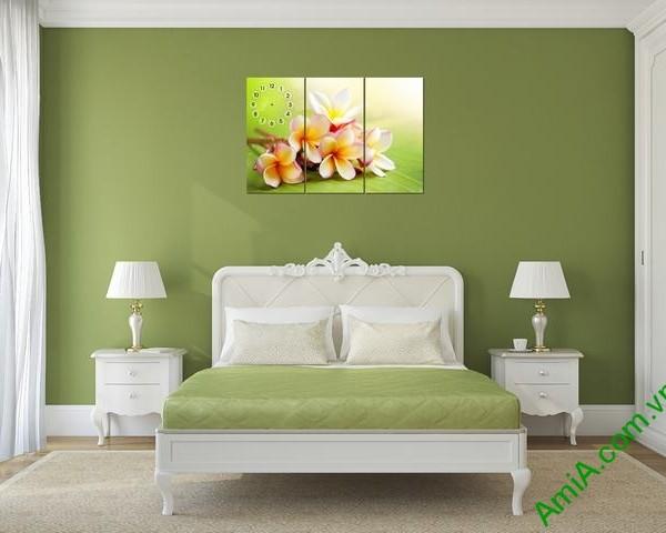 Tranh đồng hồ treo tường phòng khách hoa Đại Amia 292-03