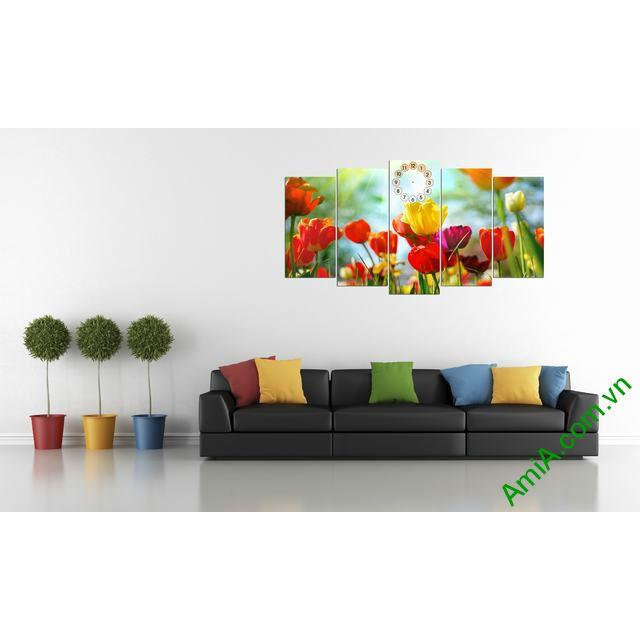 Tranh ghép bộ phòng khách hoa Tulip-00