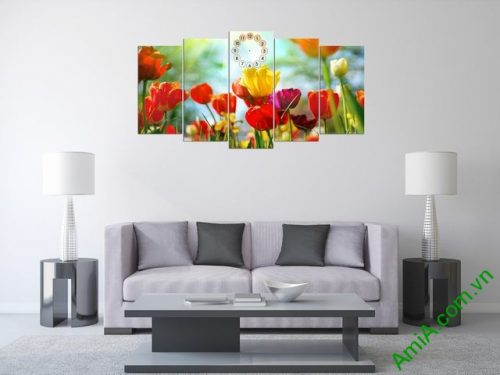Tranh ghép bộ phòng khách hoa Tulip-01