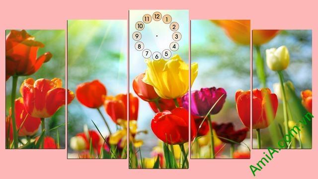 Tranh ghép bộ phòng khách hoa Tulip