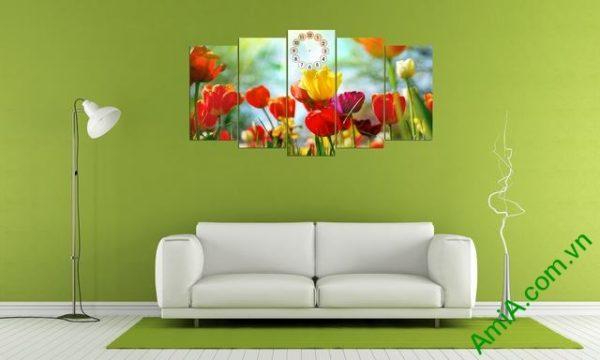 Tranh ghép bộ phòng khách hoa Tulip-03